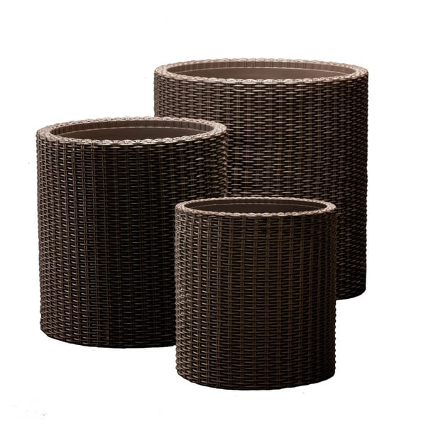 Keter Brown Plastic Resin Rattan Round Cylinder 3 Piece Garden Planter Set