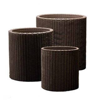Keter Round Cylinder Plastic Rattan Brown Resin Garden Flower Plant Planters Decor Pots 3-piece Set in Assorted Sizes