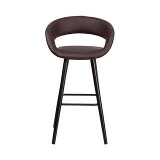 Offex Brynn Series Brown Vinyl Upholstery 29-inch High Contemporary Barstool with Cappuccino Wood Frame