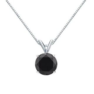 Auriya 14k Gold 2ct TDW Round Cut Black Diamond Solitaire Necklace