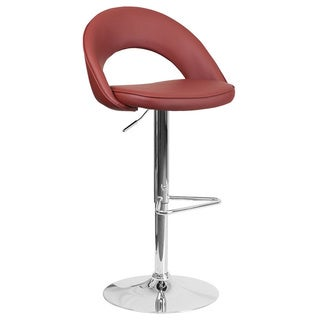Offex Red Vinyl and Chrome Adjustable Swivel Seat Barstool