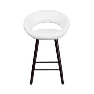 Offex Kelsey Series Vinyl 24-inch Counter Height Stool with Cappuccino Wood Frame