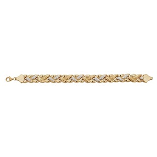 Decadence Spiga 14k Two-tone Gold High-polished Diamond Cut 7.25-inch Bracelet