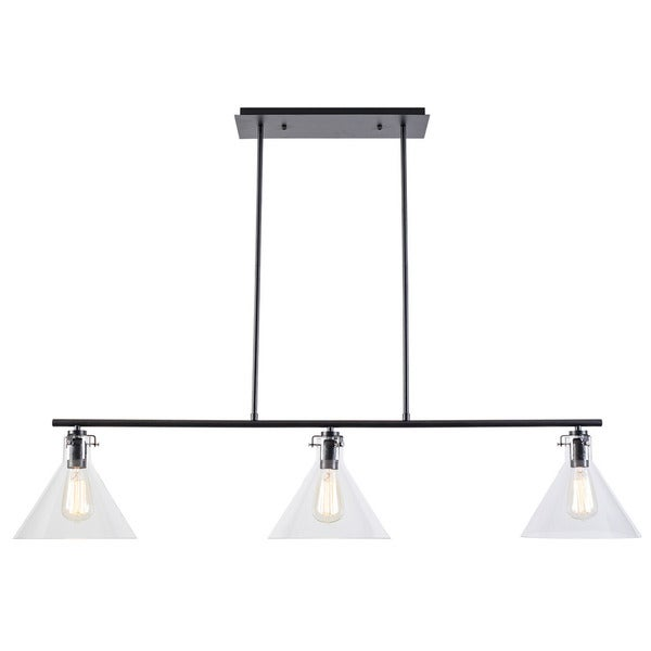 Light Society Braxton Black, Clear Glass, Iron 3-light Chandelier