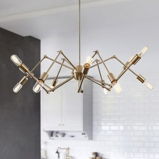 Light Society Arachnid Brass Iron 12-light Chandelier