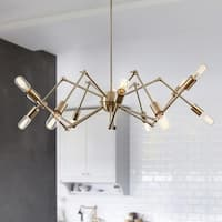 Light Society Arachnid Brass Iron 12-light Chandelier