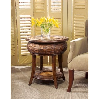 Butler Leather Round End Table