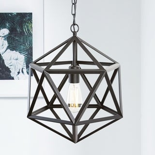 Light Society Geodesic Black Iron Pendant Lamp