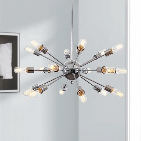 Light Society Sputnik Style Chrome Iron Chandelier