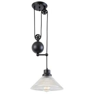 Light Society Technica Black Iron, Glass 1-Light Pulley Pendant