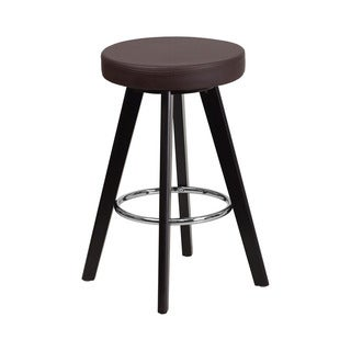 Offex Trenton Series Vinyl Upholstery 24-inch Counter-height Stool with Cappuccino Wood Frame