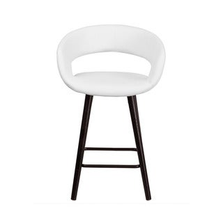 Offex Brynn Series Vinyl and Cappuccino Wood-framed 24-inch Contemporary Stool