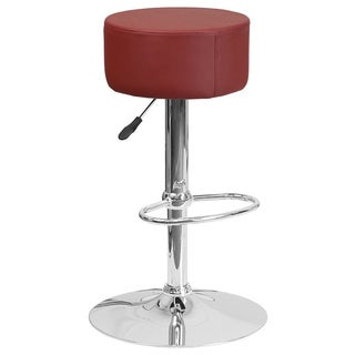 Offex Vinyl Height-adjustable Swivel Seat Barstool with Chrome Base