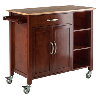 Winsome Mabel Walnet-finished Open Shelf Storage Kitchen Cart with Drawer