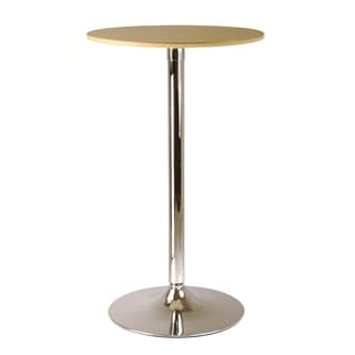 Winsome Kallie Tan/Silver Metal Round Pub Table