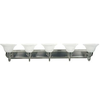Monica Satin Nickel Finish with White Alabaster Glass 5-light Vanity
