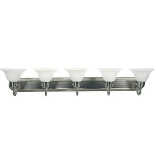 Y-Decor 'Monica' Satin Nickel Finish 5-light Vanity with White Alabaster Glass