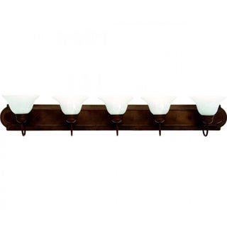 Monica Dark Brown Finish with White Alabaster Glass 5-light Vanity Light