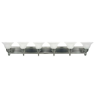 Monica Satin Nickel Finish White Alabaster Glass 6-Light Vanity Light