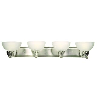 Y-Decor 'Rick' Satin Nickel Finish White Cloud Glass 4-light Vanity Light Fixture