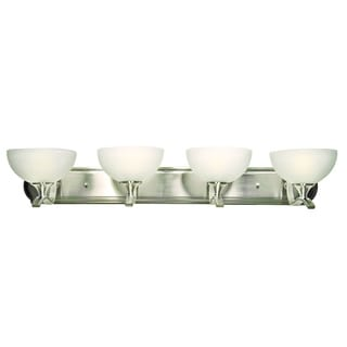 Rick Satin Nickel Finish White Cloud Glass 4-light Vanity Light Fixture