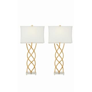 Goldtone/Off-white Metal and Resin 34-inch Table Lamp