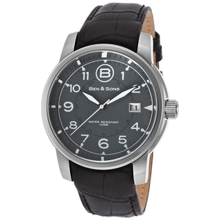Ben & Sons Men's West Side Stainless Steel Black Leather Watch
