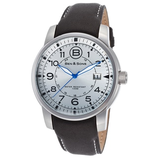 Ben & Sons Men's Black Leather and Stainless Steel Watch