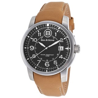 Ben & Sons Men's Beige Leather and Stainless Steel Quartz Watch