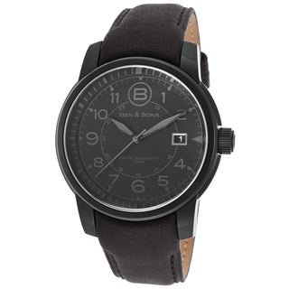 Ben & Sons Men's Black Leather Quartz Watch
