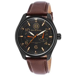 Ben & Sons Men's Stainless Steel and Brown Leather Watch