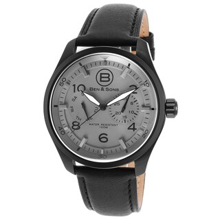 Ben & Sons Men's Black Stainless Steel and Leather Watch
