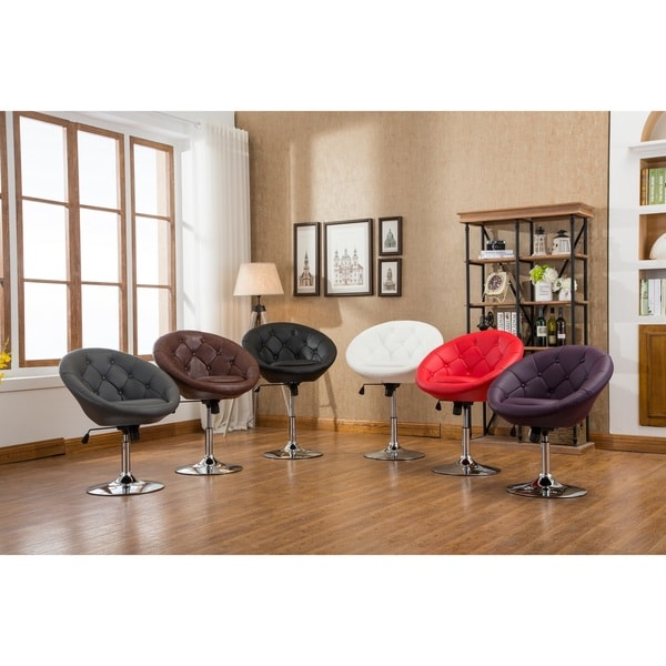 Noas 19   24 Inch Contemporary Bonded Leather And Chrome Round Tufted Back  Tilt Swivel