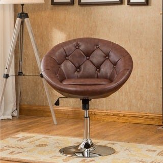Noas Contemporary Bonded Leather and Chrome Round Tufted Back Tilt Swivel Accent Chair
