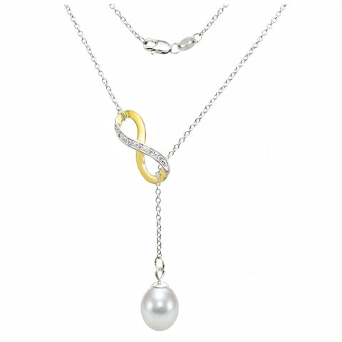 DaVonna Sterling Silver 2-tones Infinity 8-9mm White Long Shape Freshwater Pearl Lariat Chain Necklace