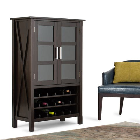 WYNDENHALL Waterloo 18-Bottle Solid Wood 32 inch Wide Contemporary High Storage Wine Rack Cabinet in Dark Walnut Brown
