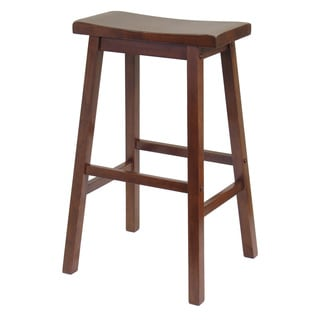 Winsome Wood Antique Walnut 29-inch Saddle-seat Stool