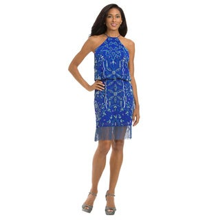 Lotus Threads Women's Blue and Off-white Polyester Halter Beaded Fringe Dress