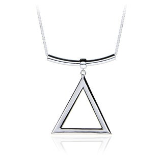 Mondevio Sterling Silver Triangle and Bar Adjustable Necklace 24 Inches
