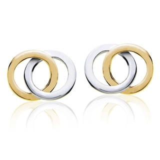 Mondevio Sterling Silver Double Circle Polished Stud Earrings