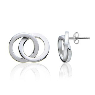 Mondevio Sterling Silver Double Circle Polished Stud Earrings (Option: White/Rose)