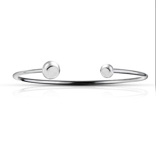 Mondevio Sterling Silver Polished Bead Cuff Bangle Bracelet