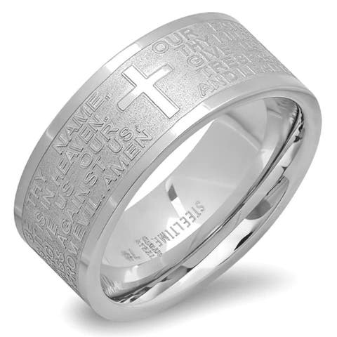 Steeltime Unisex Stainless Steel Our Father Prayer Ring