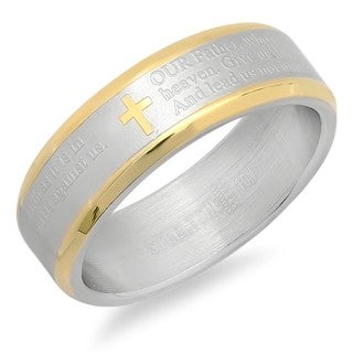 Two-tone 18k Gold-plated Stainless Steel 'Our Father' Prayer Ring