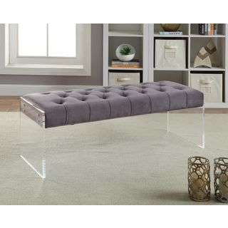 Meridian Jane Grey Velvet Tufted Bench