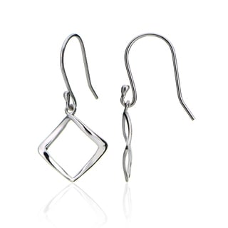 Mondevio Sterling Silver Geometric Square Polished Dangle Earrings