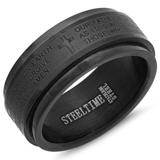 Link to Steeltime Men's Black Ion-plated Lord's Prayer Spinner Ring Similar Items in Rings