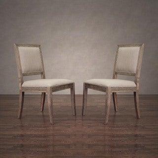 Victoria Beige Linen Nail Head Dining Chair (Set of 2)