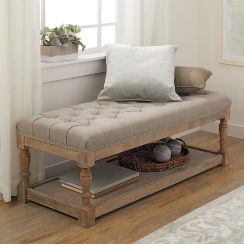 The Gray Barn Creston Grey Linen Tufted Bench