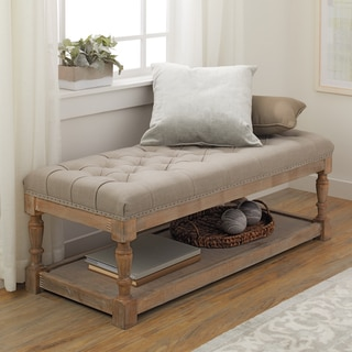 Creston Beige Linen Tufted Bench